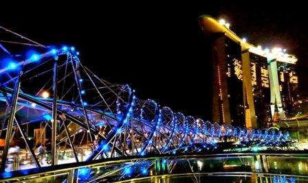 Objek Wisata Helix Bridge di Singapura