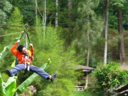 Flying Fox di Objek Wisata Tawangmangu