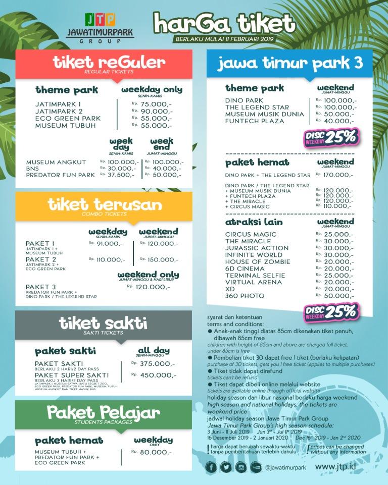 Harga Tiket Masuk Jatim Park 1 2 3 Terbaru 2019 Plus Wahana Wisata