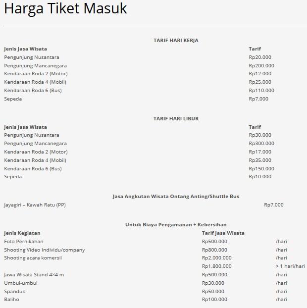 Harga Tiket Masuk Tangkuban Perahu