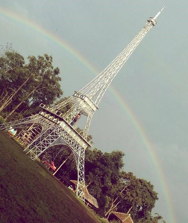 Landmark Menara Eiffel Di Taman bunga Celosia