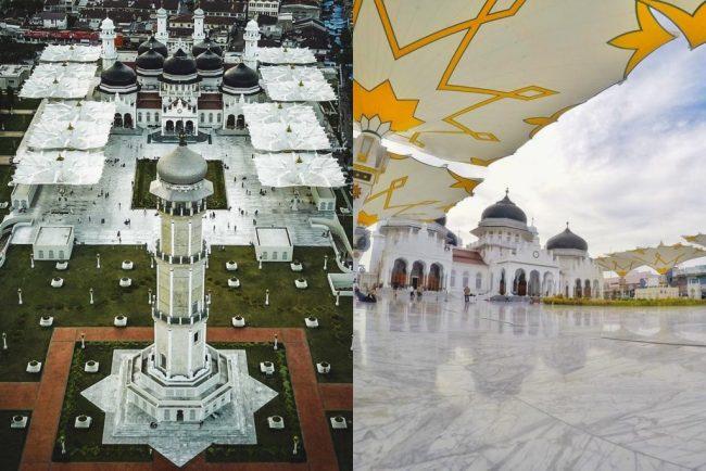 Masjid Raya Baiturrahman via IG @anditya (kiri), @langgaseptiyanto (kanan)
