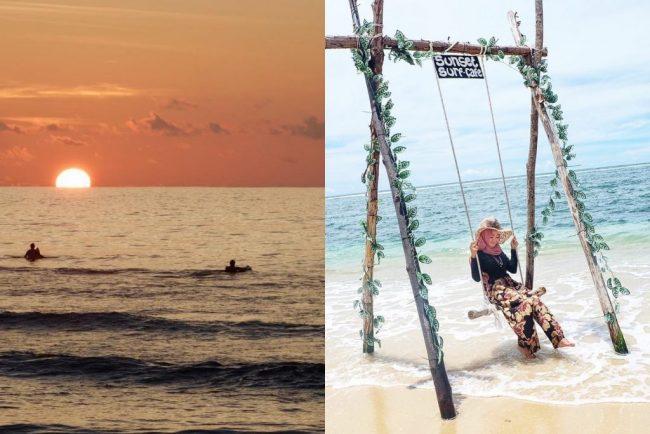 Pantai Lhoknga via IG @arabiyani (kiri), @novalia195 (kanan)