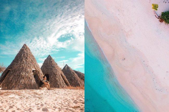 Wisata Pantai Tablolong via IG @kdkgunawan (kiri), @raditaklis (kanan)