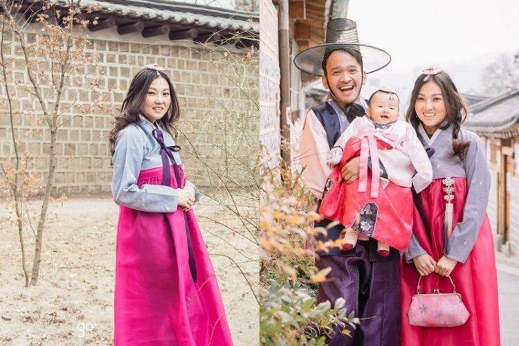 Berfoto dengan Kostum Tradisional Korea Foto Ruben Onsu And Family