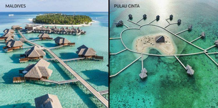 Perbandingan Pulo Cinta dan Maldives - Wisata Indonesia Mirip Maldives