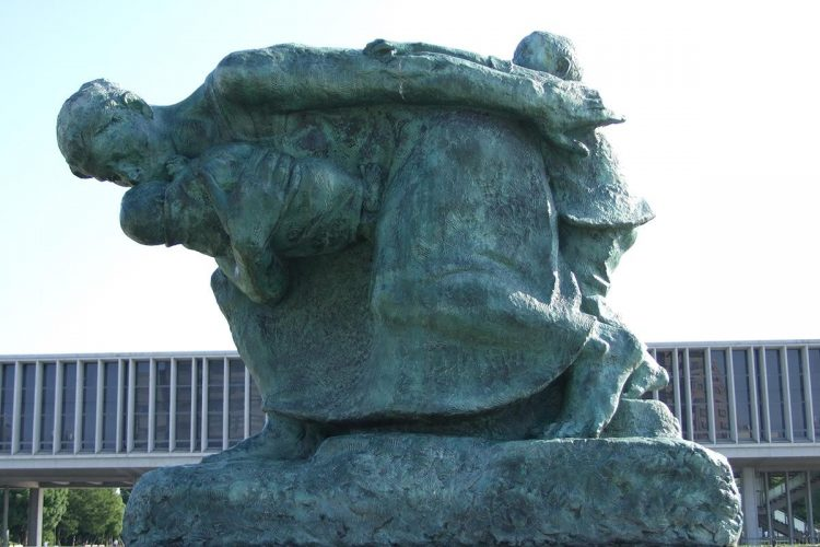 Statue of Mother and Child in the Storm via Hiroshima Navi